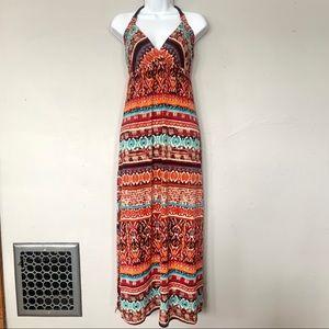 Charlotte Russe Boho Tribal Print Maxi Dress, S
